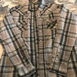 Cruel girl western snap front plaid shirt
